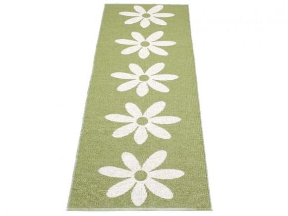Pappelina Teppich Lilo in oliv mit weissen Blumen