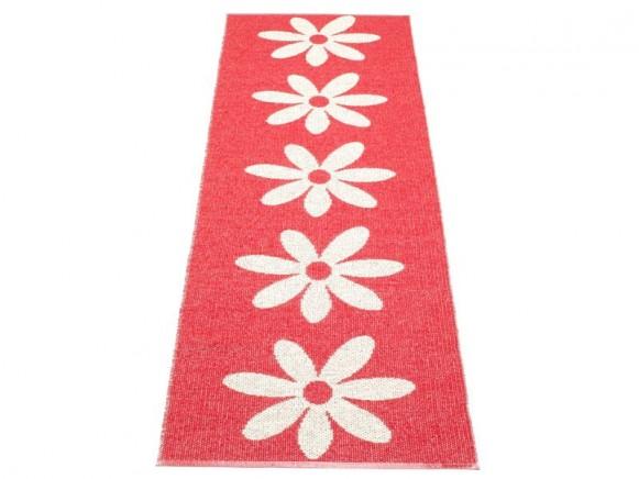Pappelina Teppich Lilo in rot mit weissen Blumen