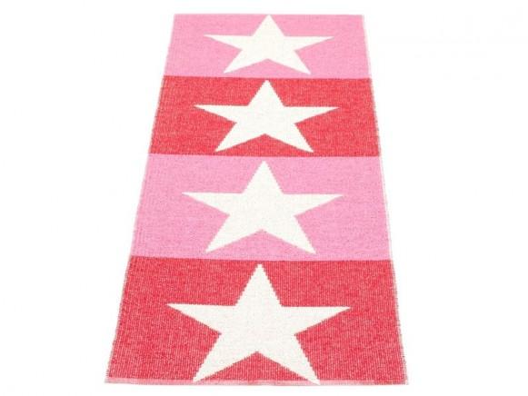 Pappelina Teppich Viggo in rot und pink