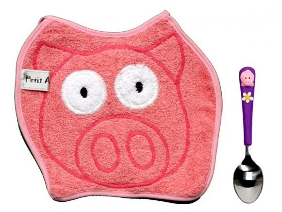Babyset (Latz und Löffel) Schwein von Petit Appetit