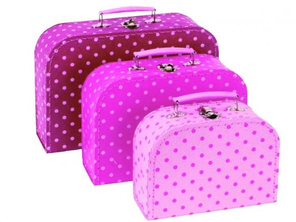 Kinderkoffer-Set in pink mit Punkten von Petit Jour
