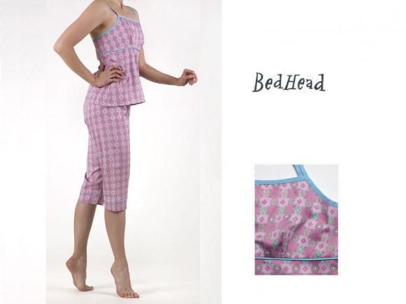Camisole Top & Capri Pant Set Pink Tiles Sateen von BedHead