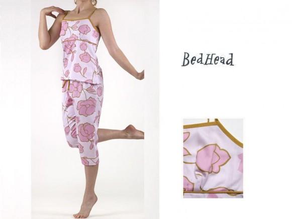 Camisole Top & Capri Pant Set Pink Tulips Sateen von BedHead