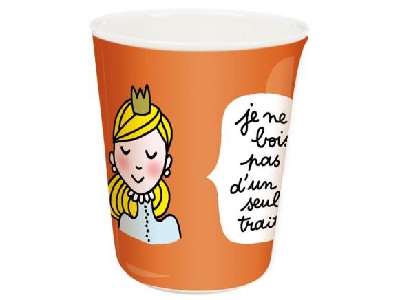 Orangefarbener Kinderbecher mit Prinzessin von Petit Jour