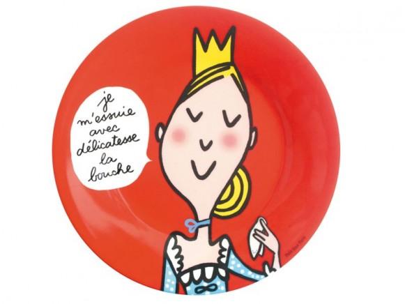 Roter Melaminteller mit blonder Prinzessin von Petit Jour