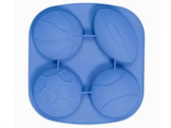 Backform aus Silikon mit Bällen in blau von RICE Dänemark