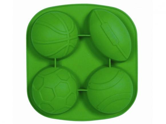 Backform aus Silikon mit Bällen in grün von RICE Dänemark