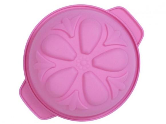Runde Backform aus Silikon mit Blume in pink von RICE