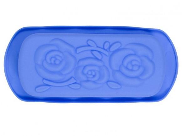 Backform aus Silikon mit Blumen in blau von RICE Dänemark