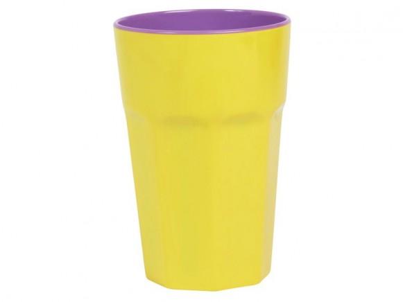 RICE Milchkaffee Becher gelb violett