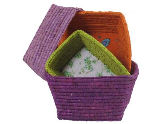 Brotkorb-Set in lila, orange, hellviolett und grün von RICE
