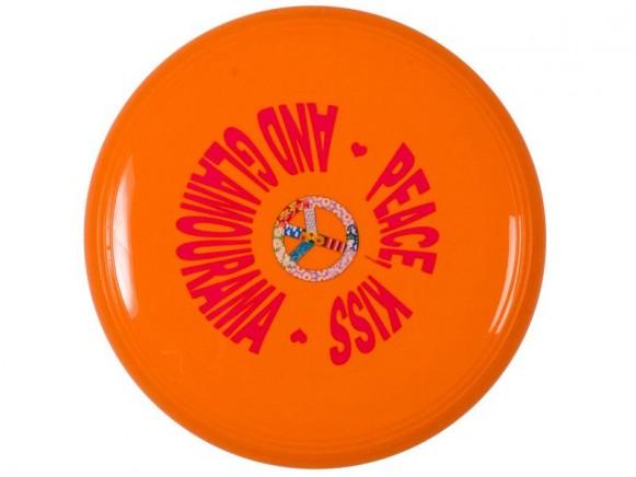 Frisbee in orange mit Friedenssymbol von RICE Dänemark