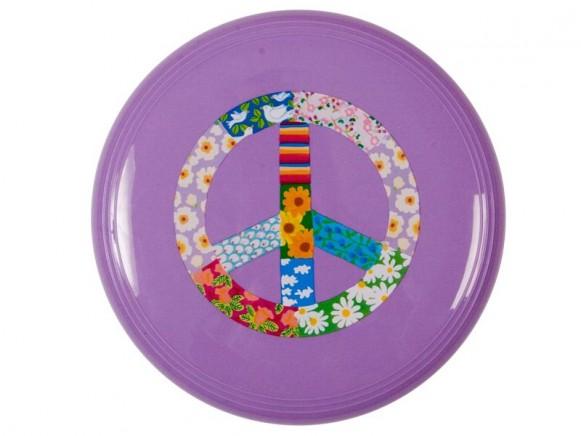 Frisbee in violett mit Friedenssymbol von RICE Dänemark