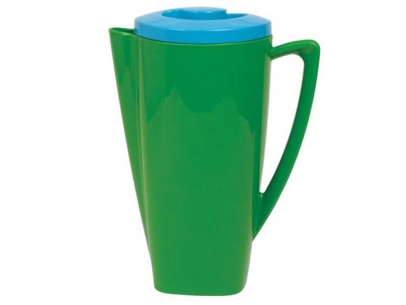 Grüne Plastikkanne mit türkisfarbenem Deckel von RICE