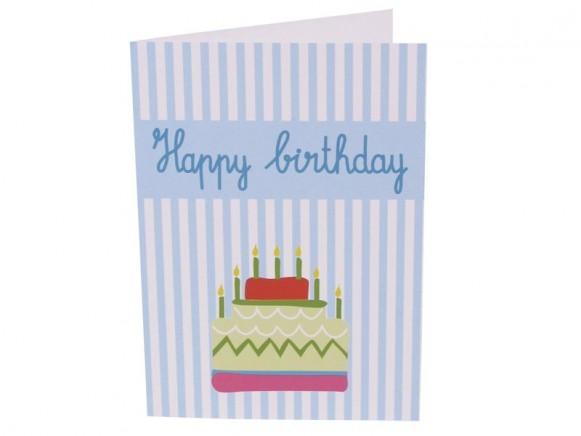 8 Happy Birthday Klappkarten in blau von RICE