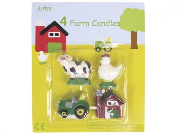 Mini-Kerzen mit Farm-Motiven von RICE Dänemark