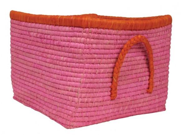 Kleiner Aufbewahrungskorb aus Bast von RICE (pink)