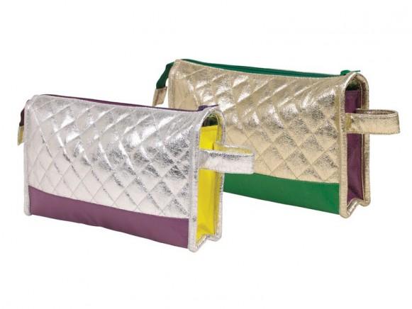 Kleine Kosmetiktasche in gold-grün oder silber-violett von RICE