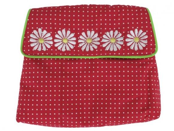 Kosmetiktasche mit rotem Muster und Blumen von RICE