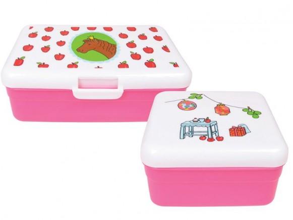 Frühstücksbox mit Mädchen-Motiv von RICE (2er Set)