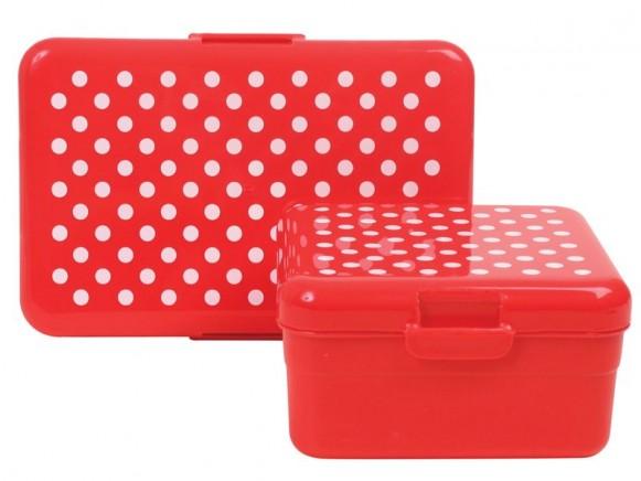 2 Frühstücksboxen mit weissen Punkten von RICE Dänemark