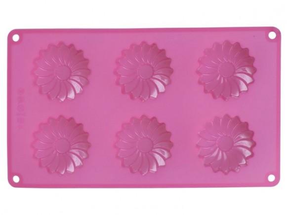 Muffinform aus Silikon in Gänseblümchen-Form von RICE (pink)