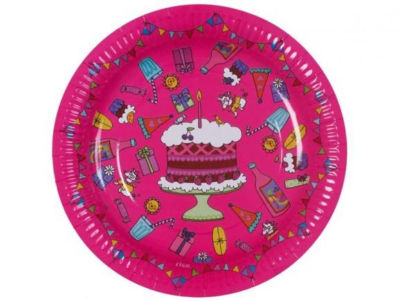 8 große Geburtstags-Pappteller in fuchsia von RICE Dänemark