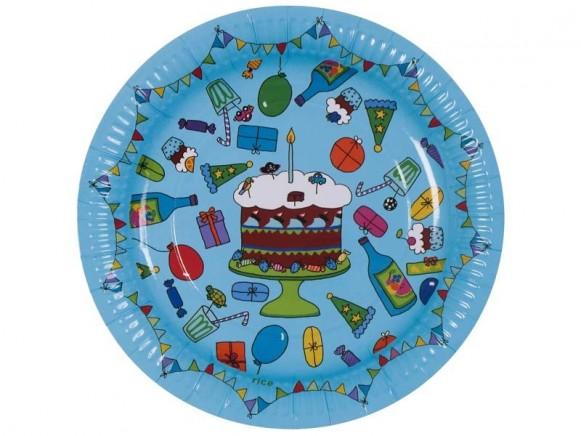 8 große Geburtstags-Pappteller in türkis von RICE Dänemark