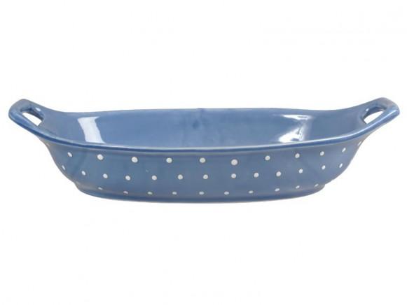 Blaue Spaghettischale mit weißen Punkten von RICE Dänemark