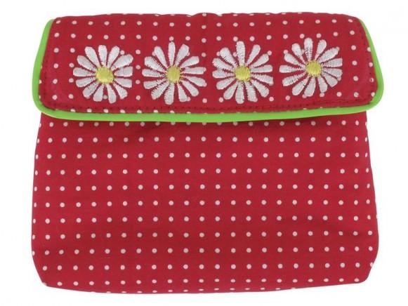 Kleine Geldbörse mit rotem Muster und Blumen von RICE