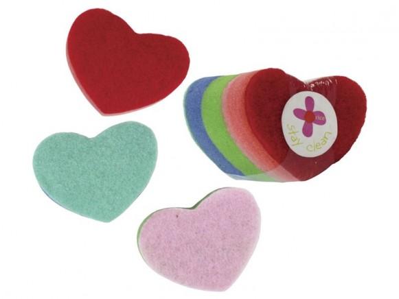 Spülschwamm in Herzform von RICE (buntes 3er Set)