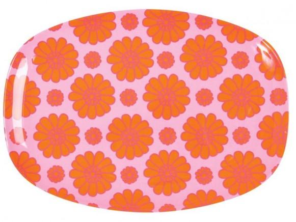 Servierteller mit orangefarbenen Blumen von RICE