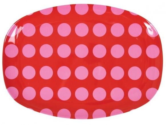 RICE Servierteller in rot mit rosa Punkten