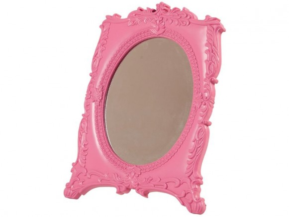 Schminkspiegel mit Nostalgierand in pink von RICE