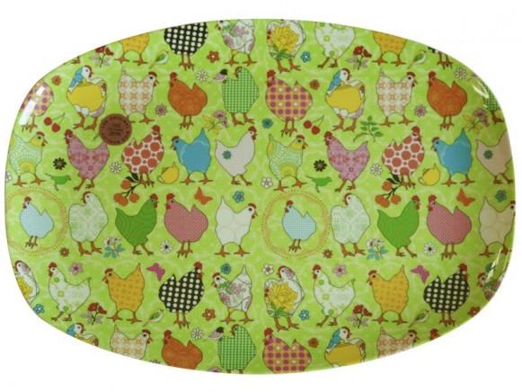 Servierteller aus Melamin mit grünem Hühnermuster von RICE