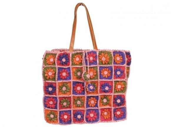 Tasche mit Häkelblumen und Ledergriffen in orange von RICE