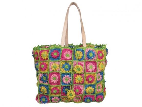Tasche mit Häkelblumen und Ledergriffen in gelb von RICE