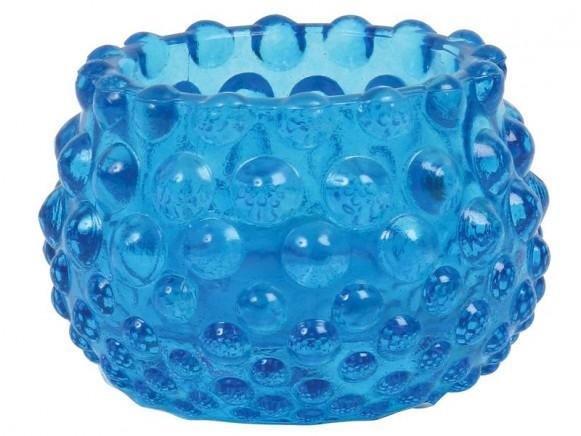 Teelichthalter aus Strukturglas in türkis von RICE