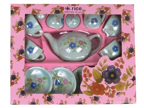 Puppengeschirr /Teeservice aus Keramik mit Blumen von RICE