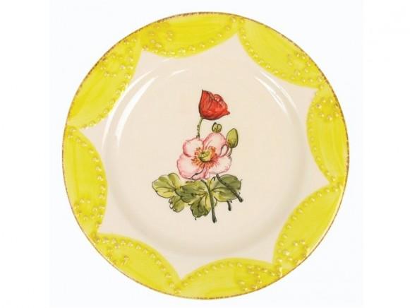 Gelber Teller mit Blumenmotiv im Toskana-Stil von RICE