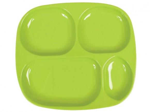 Babyteller / Kinderteller mit vier Vertiefungen in grün von RICE