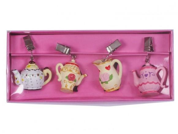4 Tischdeckenbeschwerer in Teekannenform von RICE