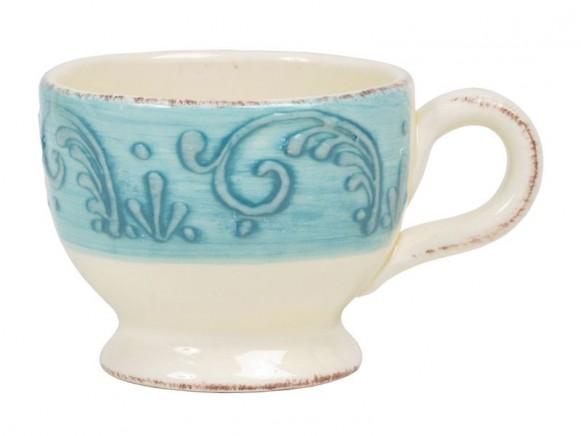Kaffeetasse mit türkisem Reliefrand im Toskana-Stil von RICE