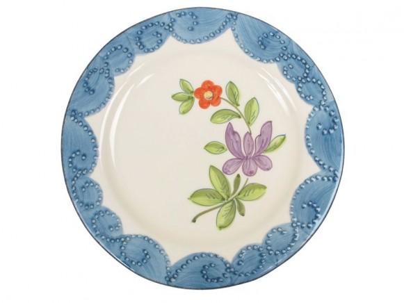 RICE Toskana Teller Blumenmotiv pfauenblau