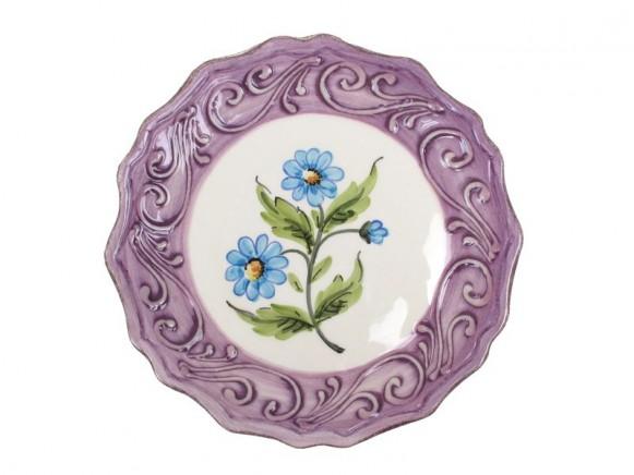 Violetter Teller mit Blumenmotiv im Toskana-Stil von RICE