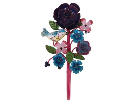 Wandhaken mit Vogel und Blumen in fuchsia von RICE