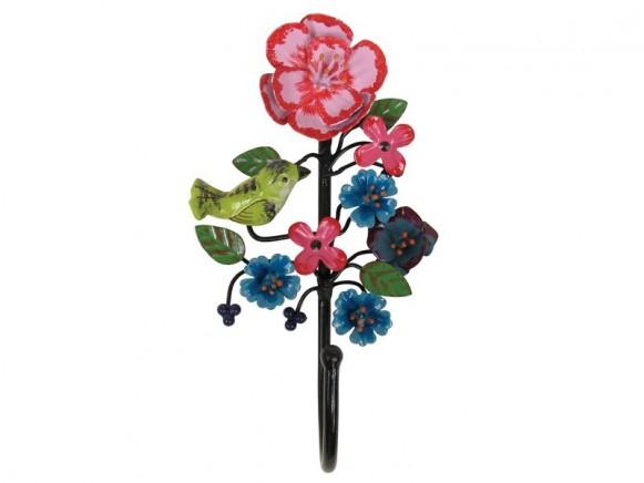 Wandhaken mit Vogel und Blumen in schwarz von RICE
