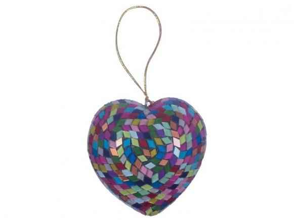 Christbaumkugel mit Glasmosaik in Herzform von RICE