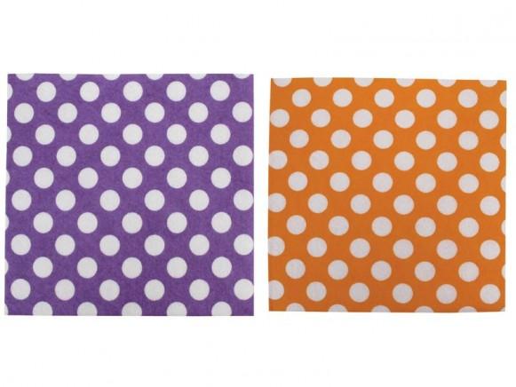 Spültücher in orange und violett mit weißen Punkten von RICE