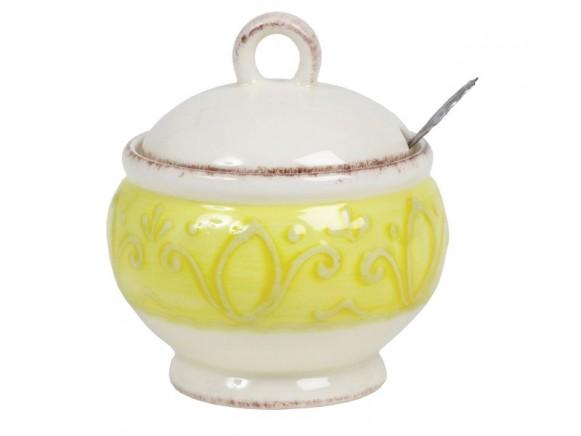 Zuckerdose mit gelbem Reliefrand im Toskana-Stil von RICE